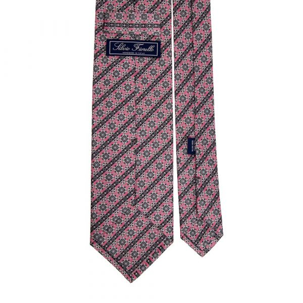 Italian Pink and Grey Classic Motif with Stripes Silver Thread Silk Tie