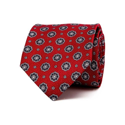 Handmade Italian Red Floral Medallion Motif Silver Thread Silk Tie