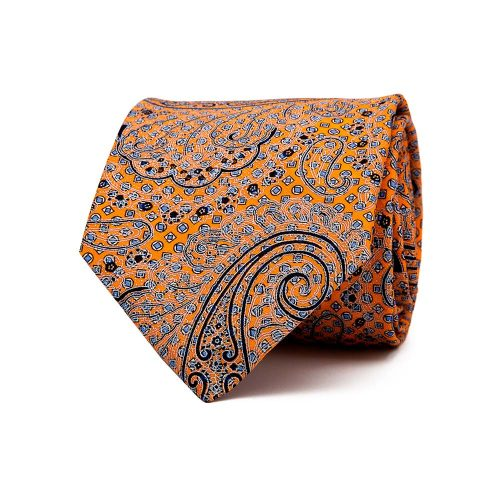 Handmade Italian Orange Paisley and Classic Motif Printed Silk Tie