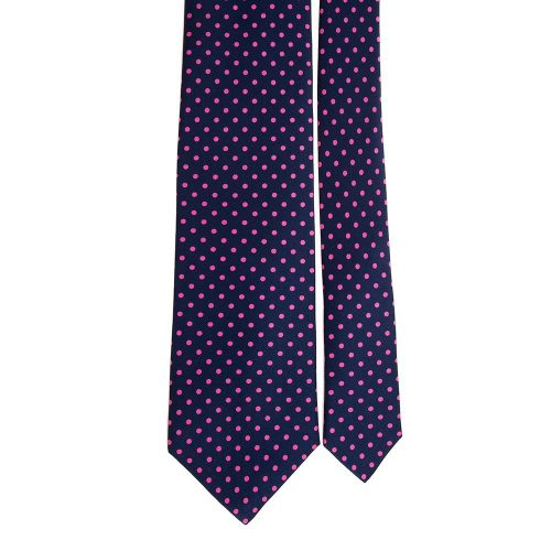 Handmade Blue and Pink Pin Dot Motif Satin Silk Tie