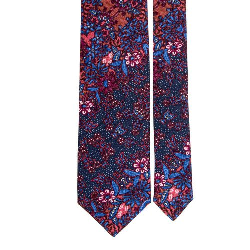 Handmade Burgundy and Blue Floral Motif Printed Twill Silk Tie