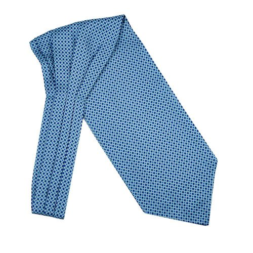 Handmade Italian Light Blue Micro Motif Silk Twill Ascot