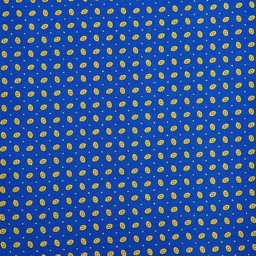 Royal Blue and Yellow Small Micro Motif Silk Twill Ascot