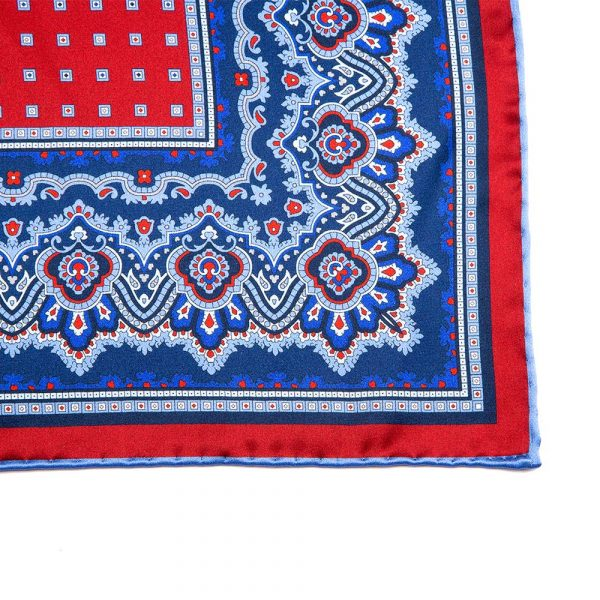 Blue and Red Ornamental and Micro Motif Silk Pocket Square