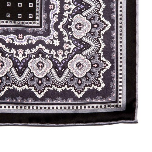 Black and Grey Ornamental and Micro Motif Silk Pocket Square