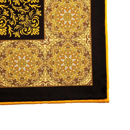 Yellow and Black Mosaic Motif Silk Pocket Square
