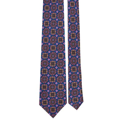 Handmade Blue and Multicolour Medallion Mosaic Satin Silk Tie