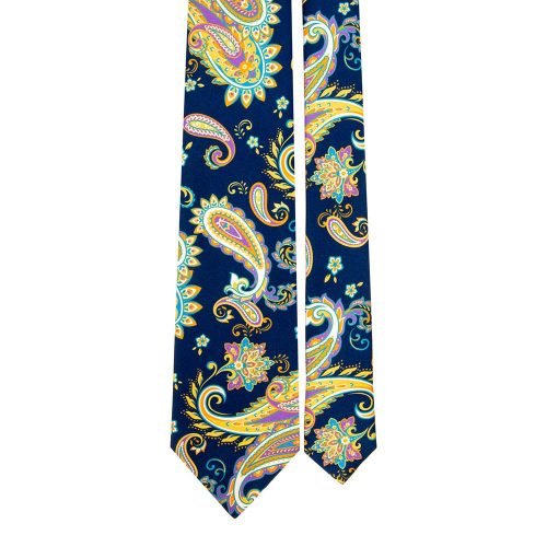 Handmade Blue and Multicolour Paisley Satin Silk Tie