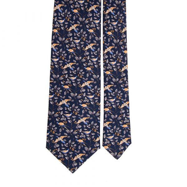 Handmade Blue Birds and Leaves Motif Printed Twill Silk Tie