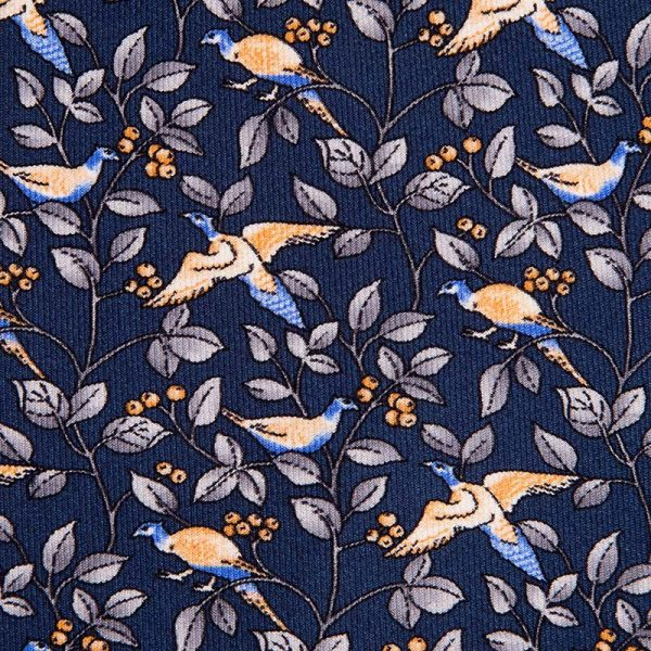 Blue Birds and Leaves Motif Printed Twill Silk Tie