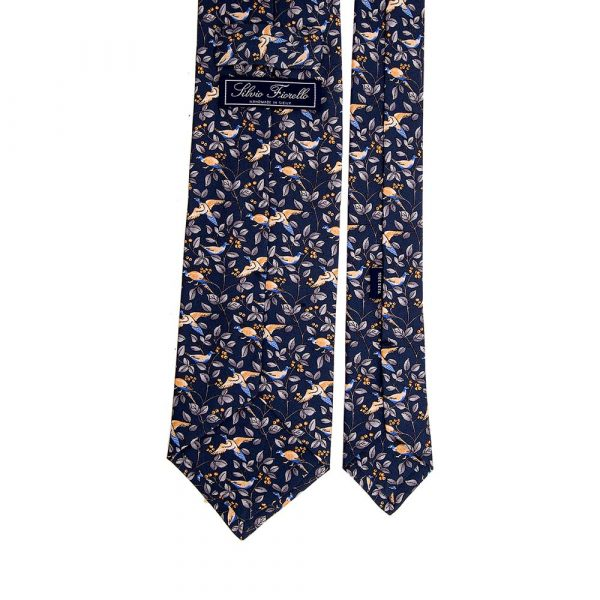 Italian Blue Birds and Leaves Motif Printed Twill Silk Tie