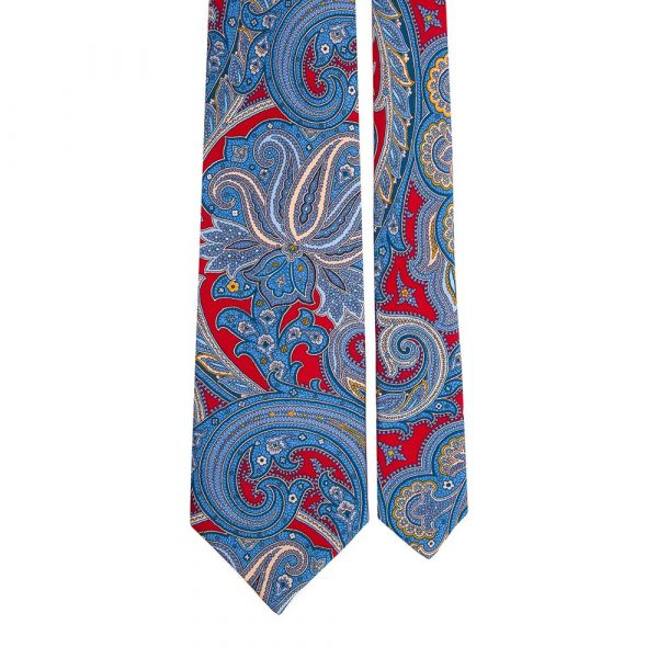 Handmade Red and Blue Paisley Silk Tie