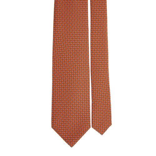 Handmade Orange Micro Motif Satin Silk Tie