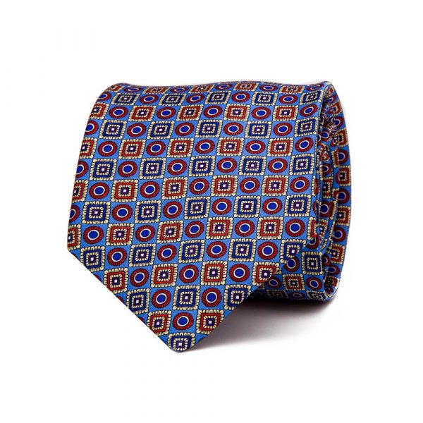 Handmade Italian Light Blue and Multicolour Geometric Ornamental Motif Printed Silk Tie