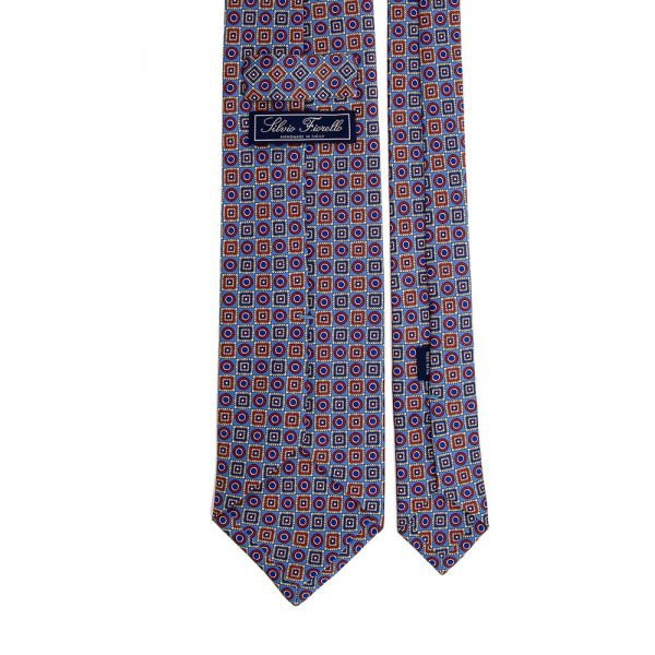 Italian Light Blue and Multicolour Geometric Ornamental Motif Printed Silk Tie