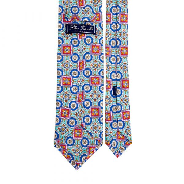 Italian Light Blue and Multicolour Ornamental Motif Silk Tie
