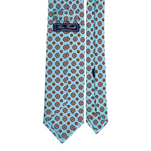 Italian Light Blue Classic Medallion Motif Printed Silk Tie