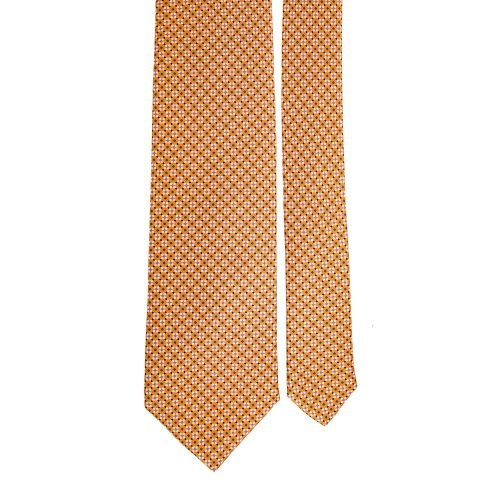 Handmade Orange Classic Geometric Satin Silk Tie