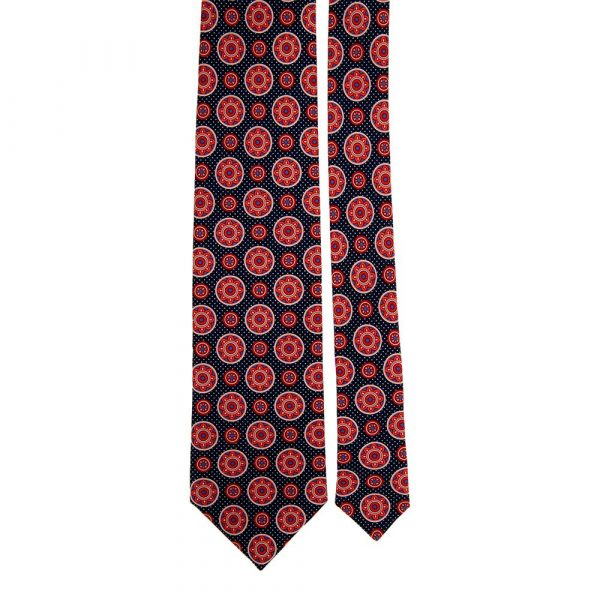 Handmade Blue and Red Medallion Motif Satin Silk Tie