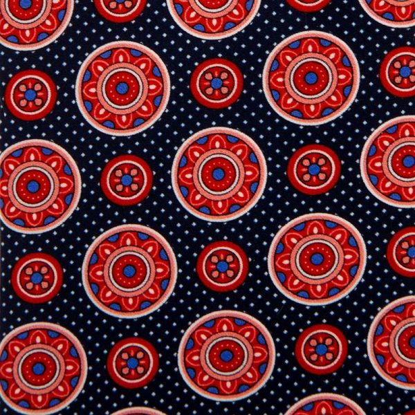 Blue and Red Medallion Motif Satin Silk Tie
