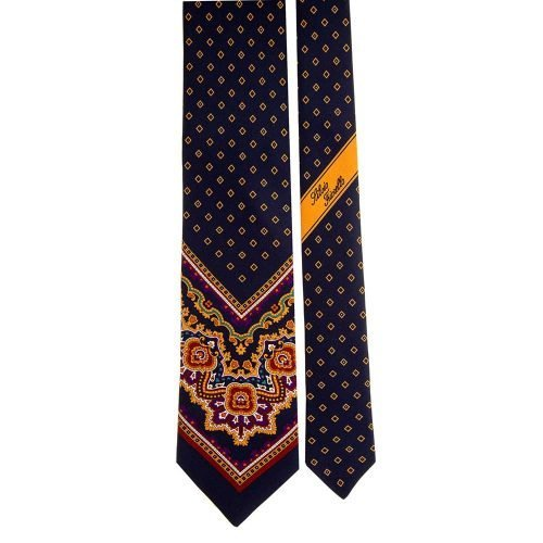 Handmade Blue and Orange Ornamental Geometric Motif Silk Tie