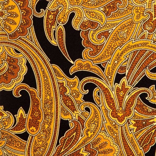 Black and Mustard Paisley and Medallion Silk Tie