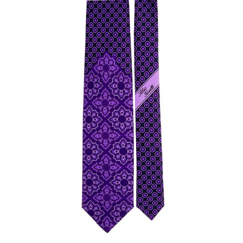 Handmade Blue and Purple Floral Medallion and Classic Motif Silk Tie