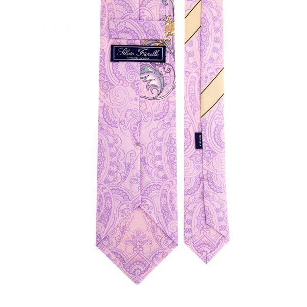 Italian Lilac Paisley and Floral Motif Silk Tie