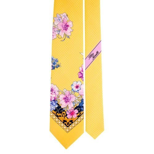 Handmade Yellow Floral and Pin Dot Motif Silk Tie