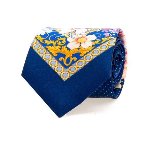 Handmade Italian Blue Floral and Pin Dot Motif Silk Tie