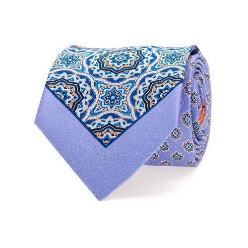 Handmade Italian Light Blue Medallion and Classic Motif Silk Tie