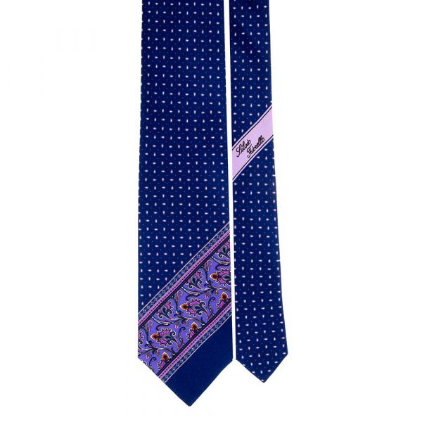 Handmade Blue Paisley and Micro Motif Silk Tie