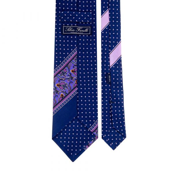 Italian Blue Paisley and Micro Motif Silk Tie
