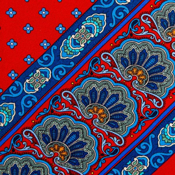 Red Paisley and Micro Floral Motif Silk Tie