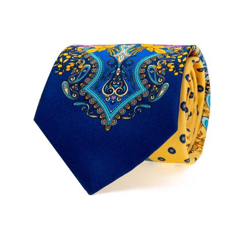 Handmade Italian Yellow Ornamental and Classic Motif Silk Tie