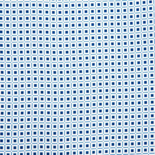 White and Blue Geometric Motif Silk Twill Ascot