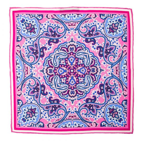 Handmade Italian Pink and Light Blue Rich Paisley Motif Silk Pocket Square