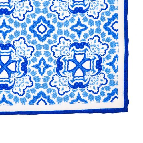 Light Blue and White Mosaic Motif Silk Pocket Square