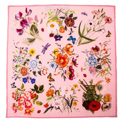 Handmade Italian Pink Botanical Motif Silk and Cotton Pocket Square