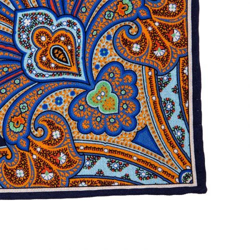 Blue and Orange Majestic Paisley Silk and Cotton Pocket Square