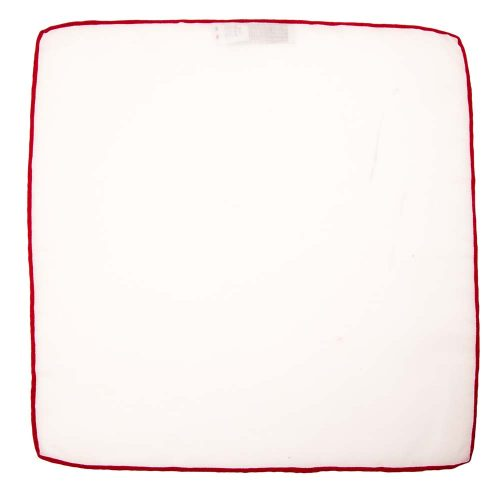 Handmade Italian White Linen Pocket Square with Red Silk Border