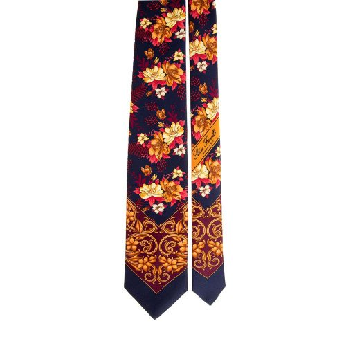 Handmade Blue Brown and Red Floral and Ornamental Motif Silk Tie