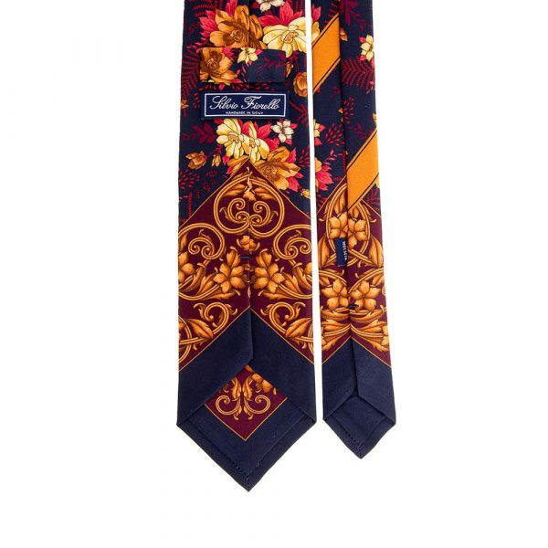 Italian Blue Brown and Red Floral and Ornamental Motif Silk Tie