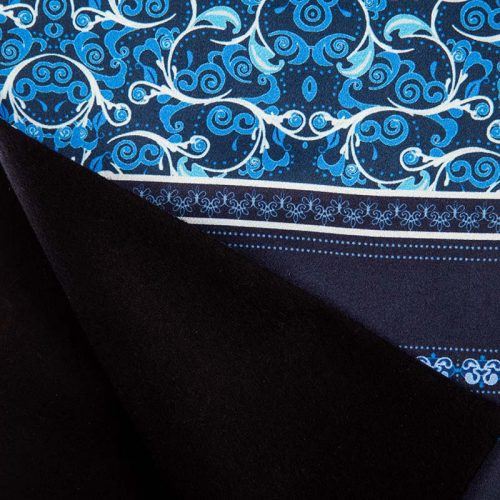 Blue Fantasy Motif Scarf with Printed Silk and Black Cashmere