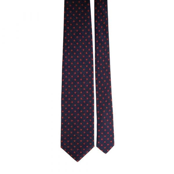 Handmade Blue and Red Floral Motif Silver Thread Silk Tie