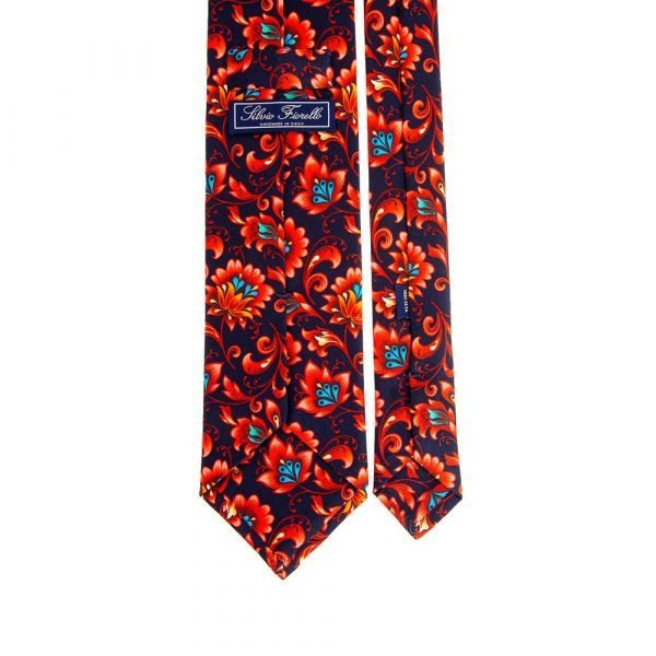 Italian Blue and Red Floral Motif Satin Silk Tie