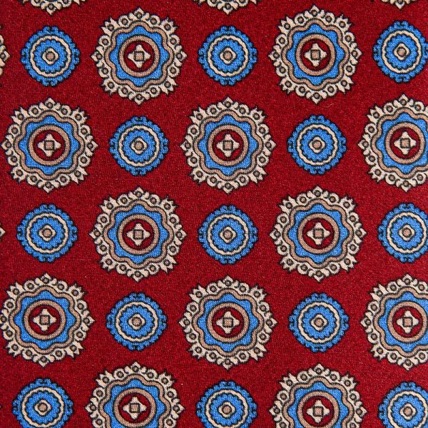 Red and Blue Floral Medallion Motif Satin Silk Tie